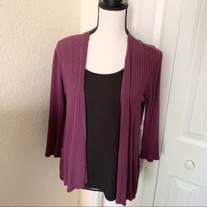 NY Collection Purple Black Long Sleeve Cardigan PM